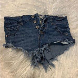 2/$29 Altar'd State buttonfly denim frayed shorts